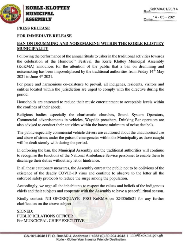 Ban on drumming and noisemaking imposed in Korle-Klottey as preparations towards Homowo begin