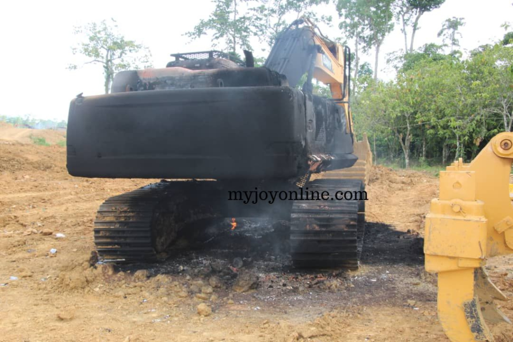 Task force destroys excavators allegedly belonging to NPP Women's Organiser