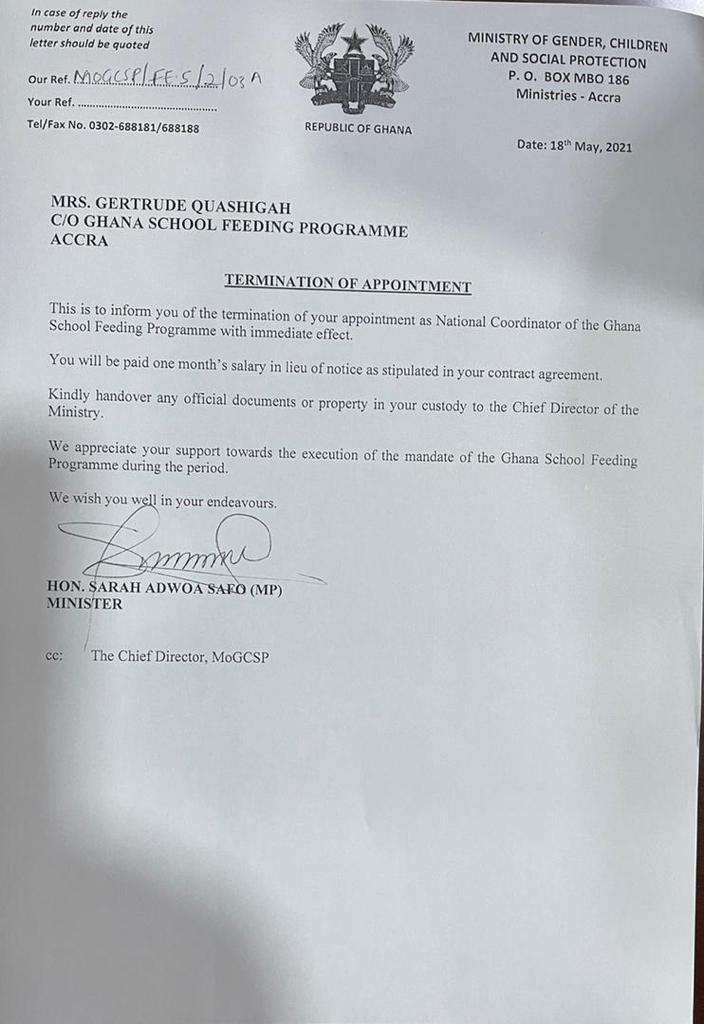 National Coordinator of School Feeding Programme sacked