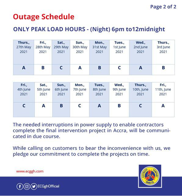 ECG publishes another 'dumsor' timetable, effective May 27 to June 11