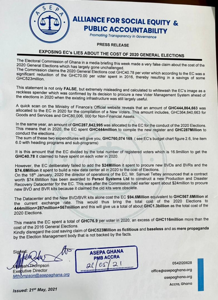 EC's claim of saving Ghana ¢523m false, baseless - ASEPA