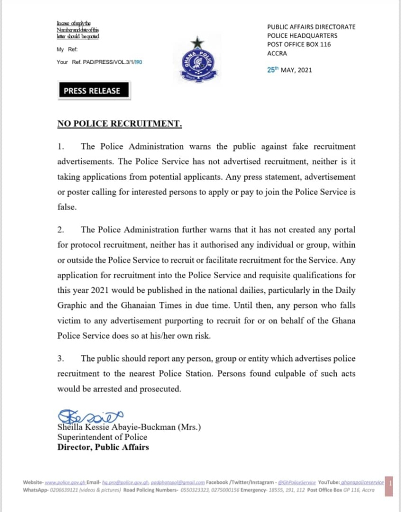 We're not recruiting, disregard advertisement or posters; they are fake - Police