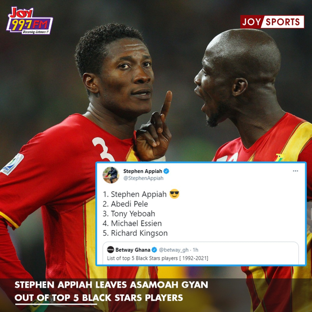 Stephen Appiah excludes Asamoah Gyan from his list of best Ghanaian players