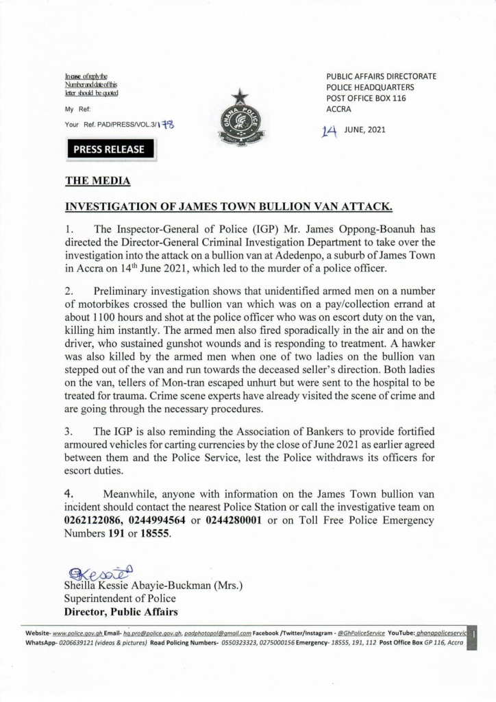 Bullion van attack at James Town: IGP directs CID to take over investigation