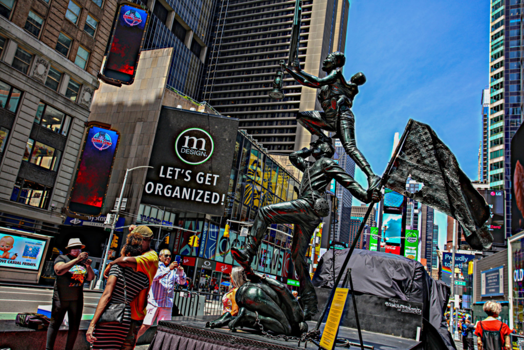 Expressionist Black history statue pops-up in Times Square amid Chauvin sentencing