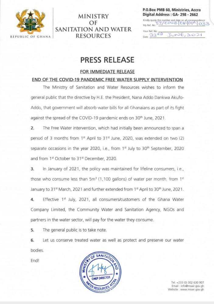 Free water policy for lifeline consumers ends in 6 days