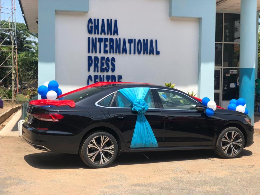Multimedia Group's Samson Lardy Anyenini receives his GJA Journalist of the Year car prize