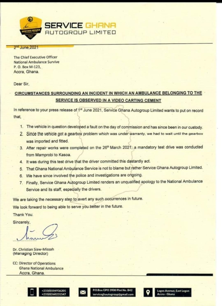 Service Ghana AutoGroup apologises for use of ambulance to cart cement bags