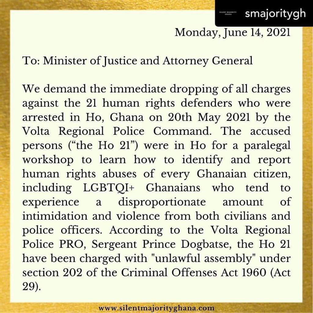 Order for charges against 21 suspected LGBTQ members to be dropped - Group to Attorney-General