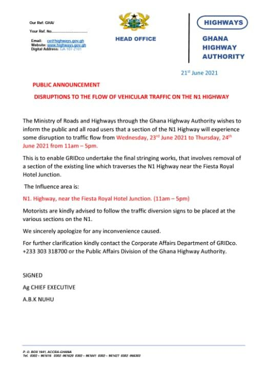 Parts of N1 Highway to experience temporary roadblocks on Wednesday and Thursday
