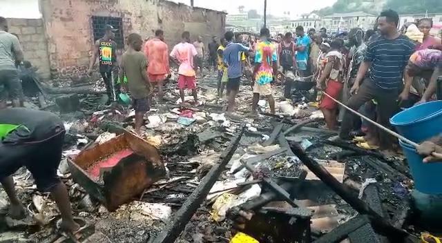 2 injured, property destroyed as fire ravages Elmina fishing market