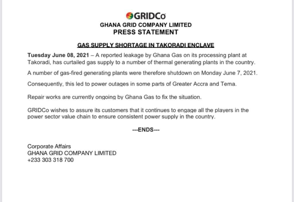 Shortage in gas supply caused Monday's power outage - GRIDCo