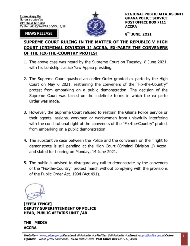 Disregard calls to embark on demonstration by #FixTheCountry conveners - Police urges public