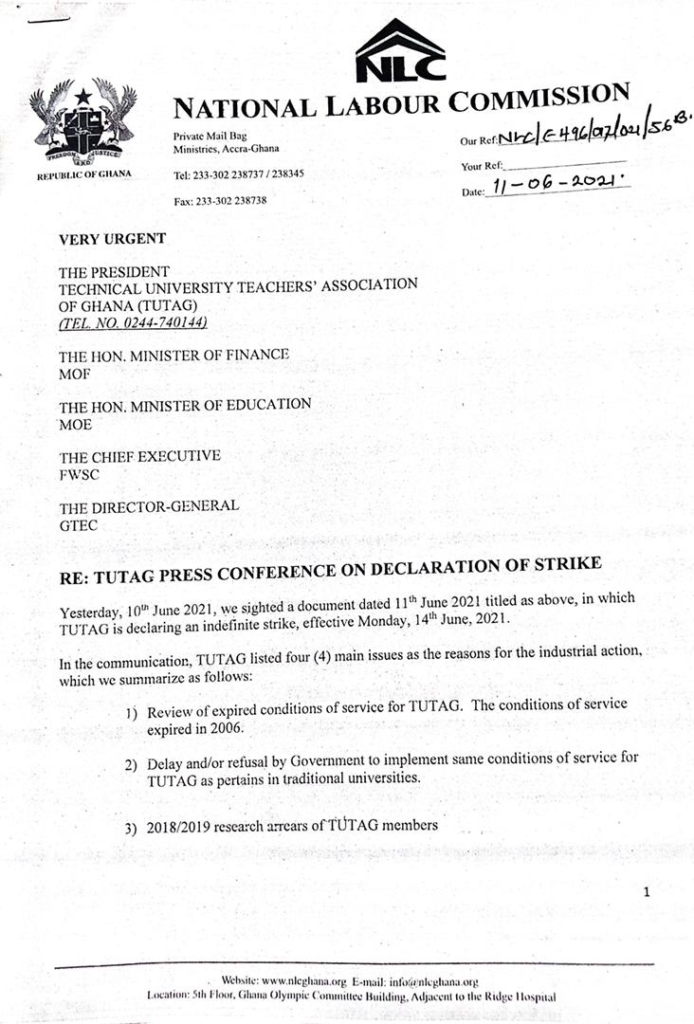 National Labour Commission advises TUTAG to refrain from intended industrial action
