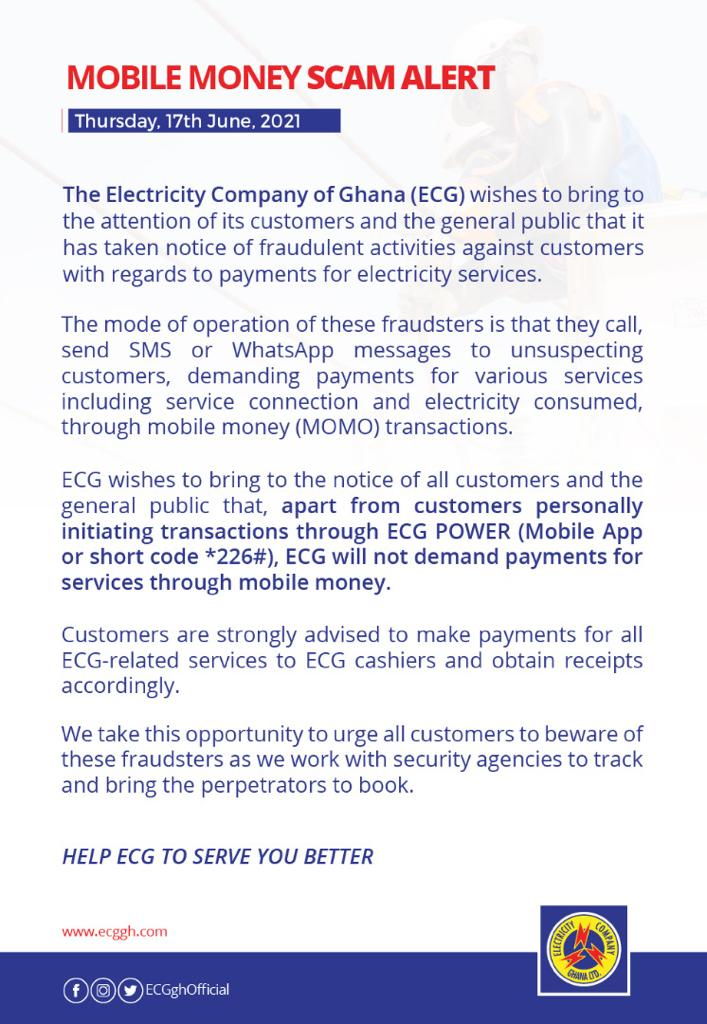 We don't demand payment through mobile money - ECG warns customers