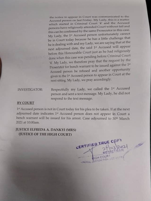 Number 12: Nyantakyi re-arraigned before The High Court