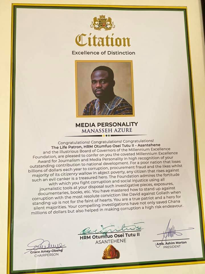 Manasseh Azure Awuni receives Millennium Excellence Award for Journalism and Media Personality