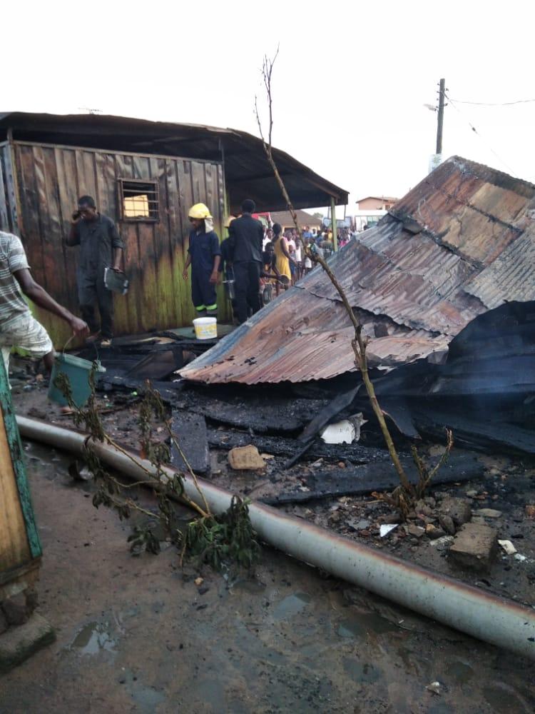 Fire destroys structures around Adjei Kojo Government School