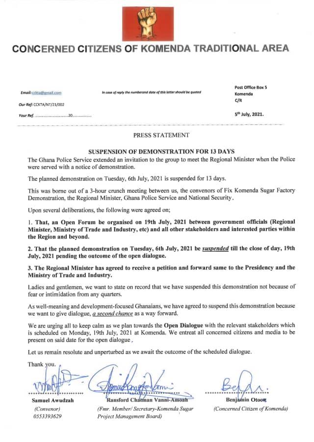 Fix Komenda Sugar Factory demonstration suspended