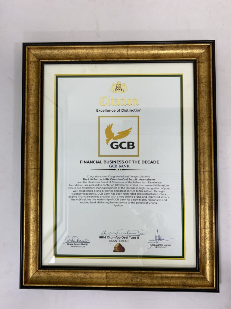 GCB voted Financial Business of the Decade at Millennium Excellence Awards