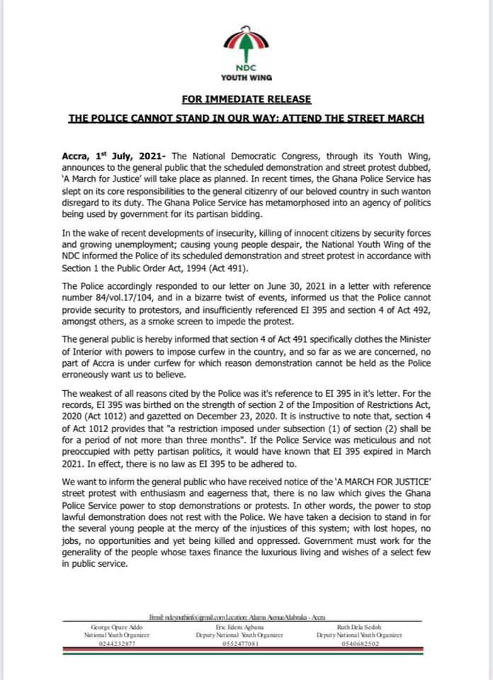 NDC youth to proceed with July 6 protest, dismisses Covid-19 restriction claims by police