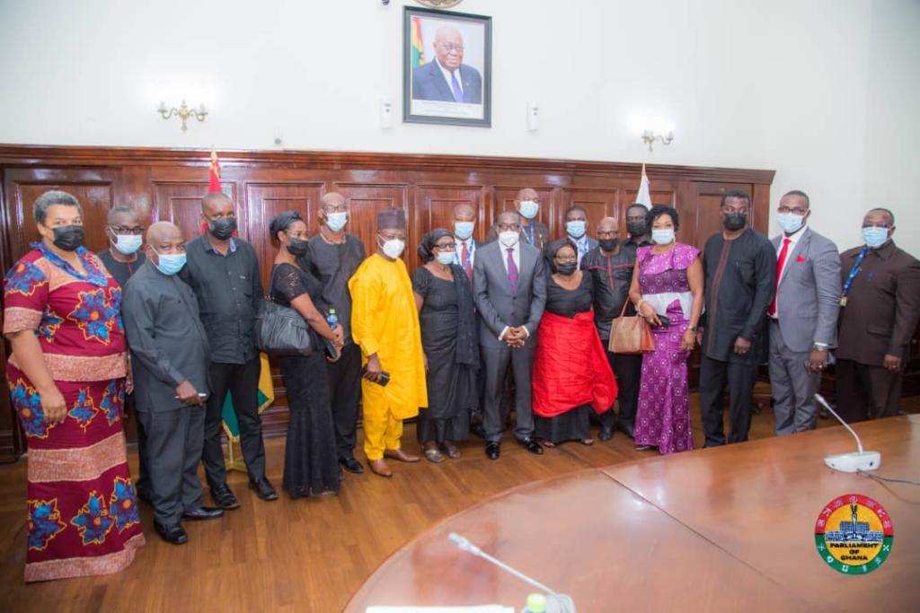 Family of late J. E. Ekuban pays courtesy to Speaker Alban Bagbin