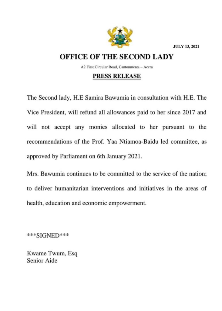 Samira Bawumia to refund allowances paid her since 2017
