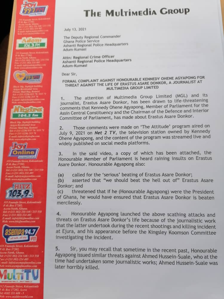 The Multimedia Group files formal complaint against Kennedy Agyapong for threatening Erastus Asare Donkor