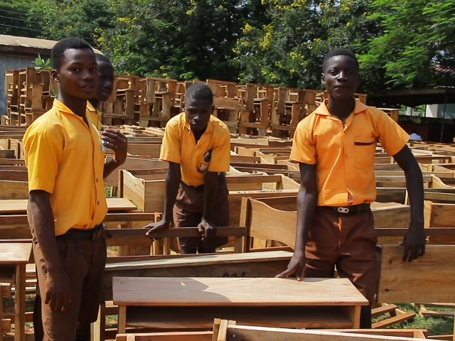Pupils who used to sit on cement blocks to study finally get furniture