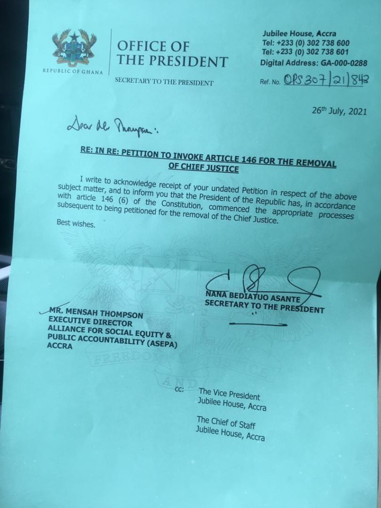 Akufo-Addo sets in motion probe to determine if CJ should be removed from office