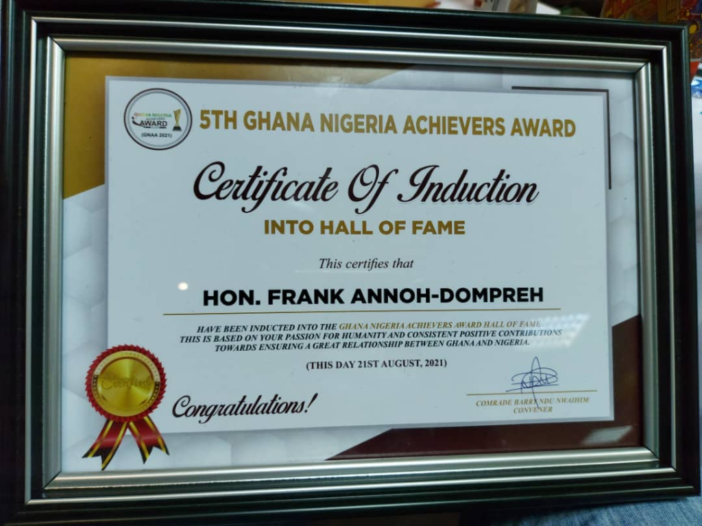 Majority Chief Whip, Annoh Dompreh grabs Most Impactful Member of Parliament Award