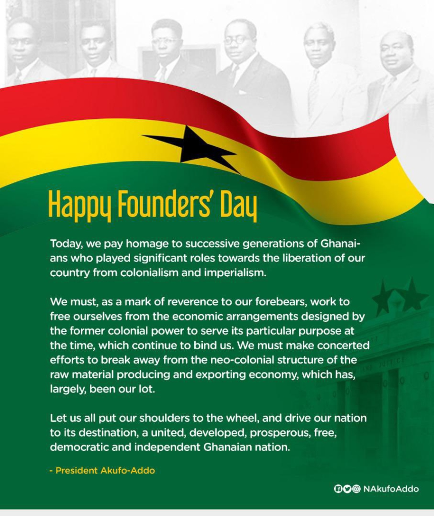 Founders' Day: We must work to free ourselves from colonial power that binds us - Akufo-Addo