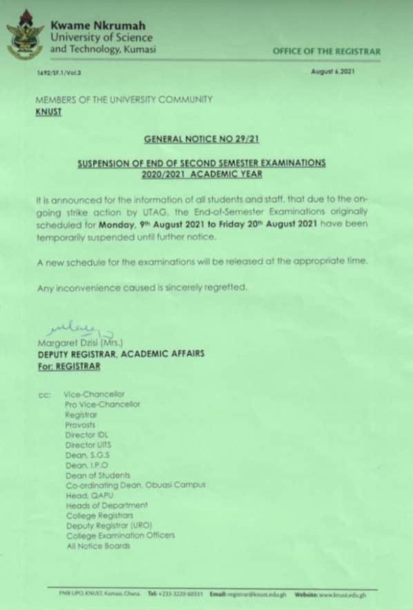 University of Ghana, KNUST suspend exams over UTAG strike