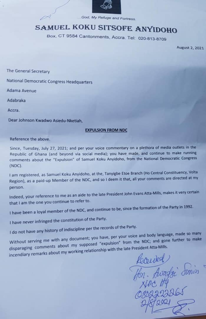 Koku Anyidoho demands expulsion letter from NDC