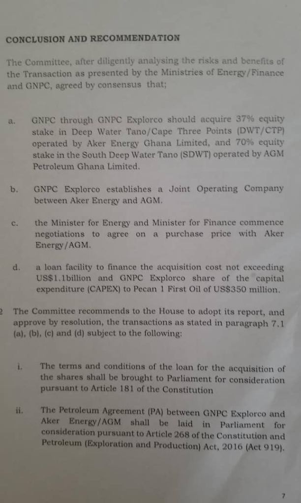 Parliament's Energy and Finance Committees recommend purchase of stakes in Aker Energy, AGM oil blocks