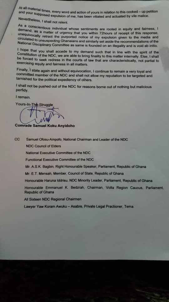Retract my purported expulsion from NDC, I remain a member - Koku Anyidoho to Asiedu Nketia