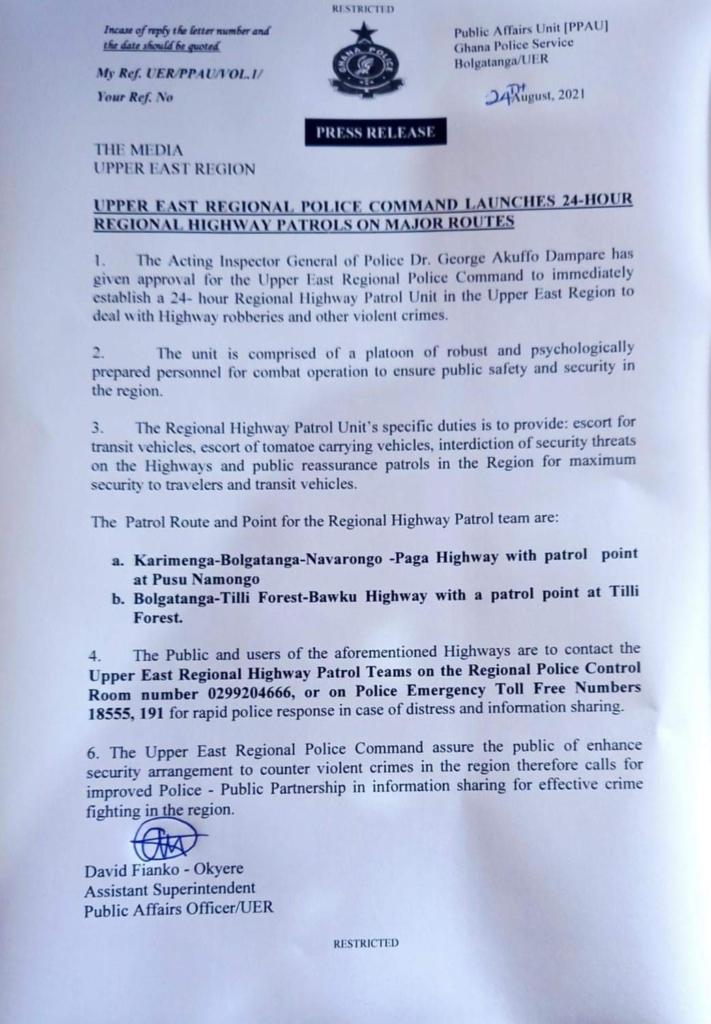 Police in Upper East to patrol major highways in the region