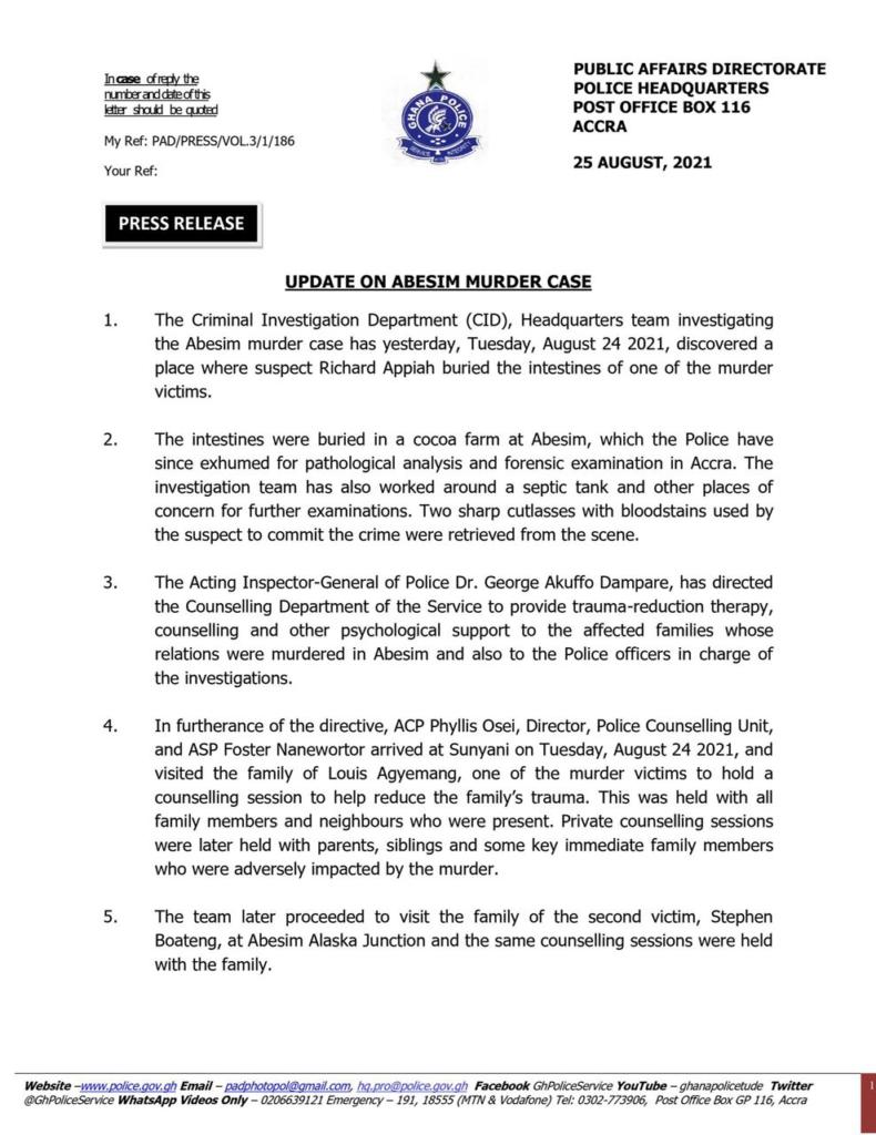 Abesim murder: Police finds murder weapon