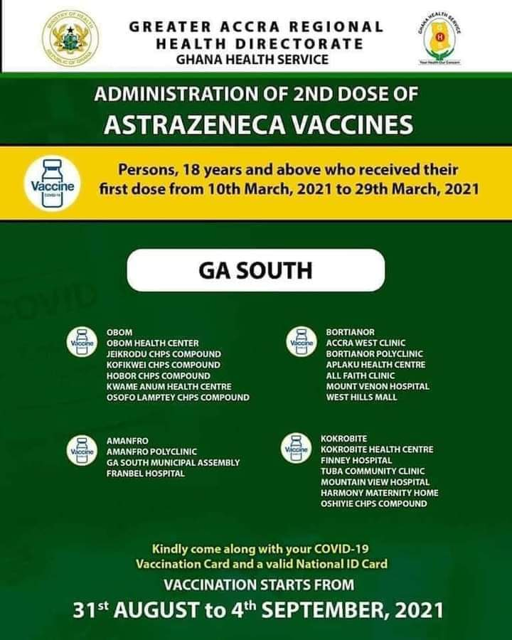 Check out where to get 2nd dose of AstraZeneca vaccine from Aug 31 to Sept. 4