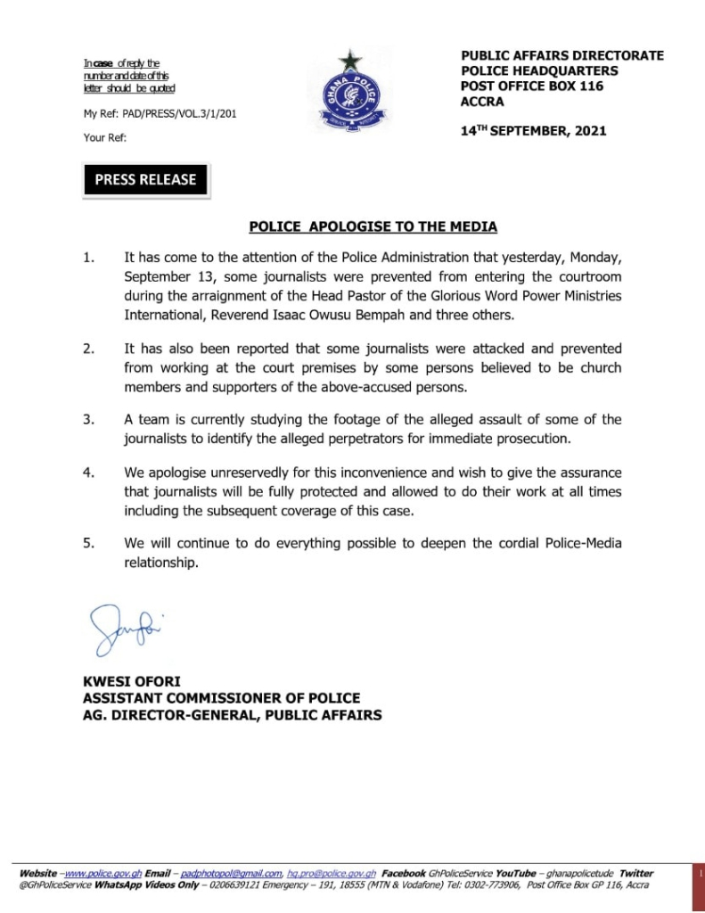 Police apologises for attack on media at Rev Owusu Bempah trial