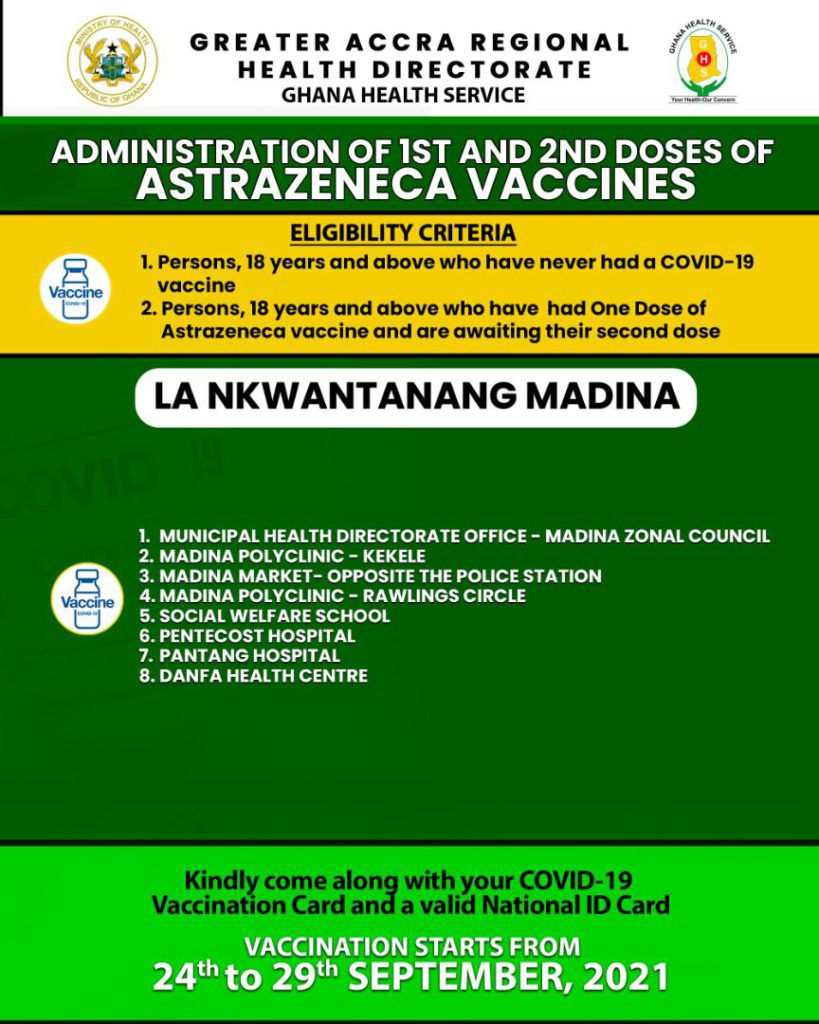 Check out where to receive 1st and 2nd doses of Covid-19 vaccine from Sept. 24 to 29