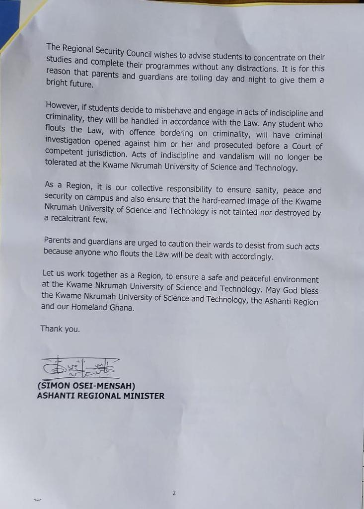 KNUST students ordered to leave campus by Saturday