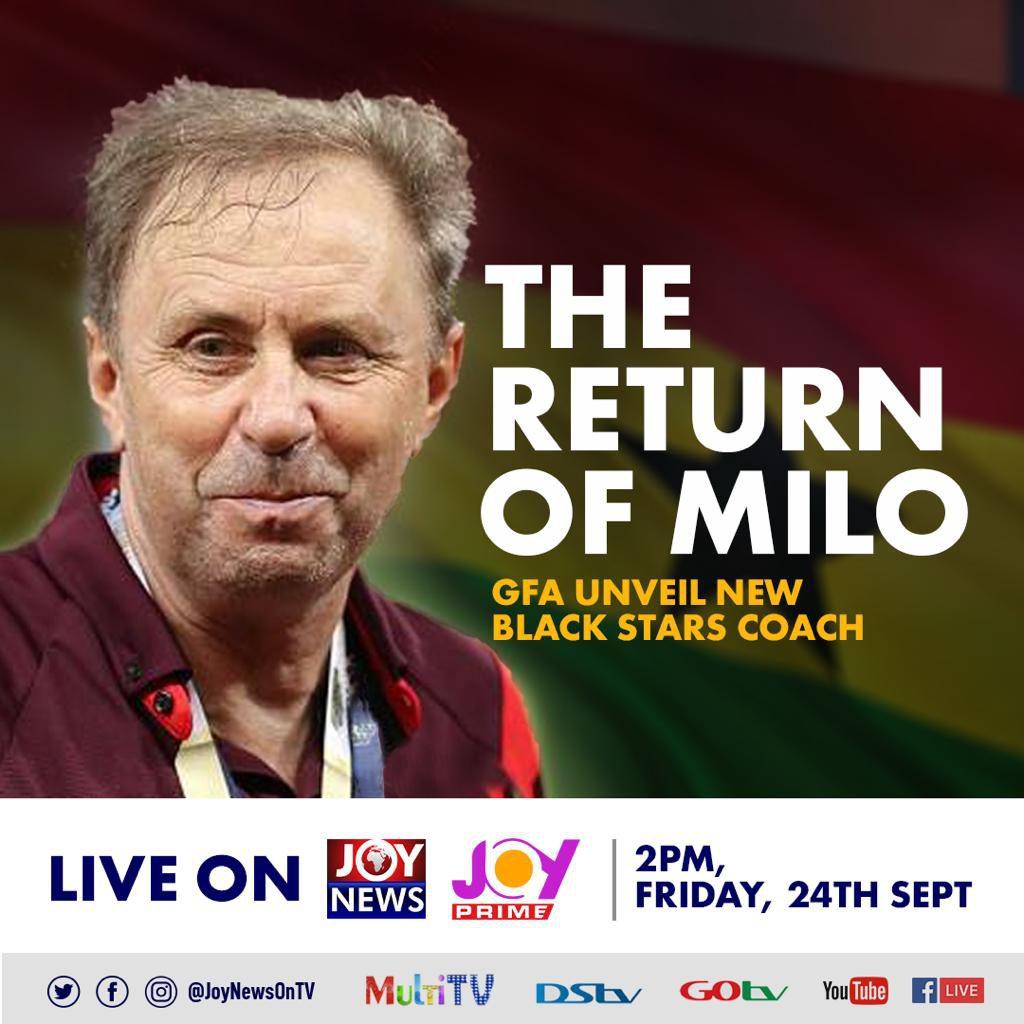 Rajeback: Unveiling of Milovan Rajevac airs on Joy News and Joy Prime at 2pm