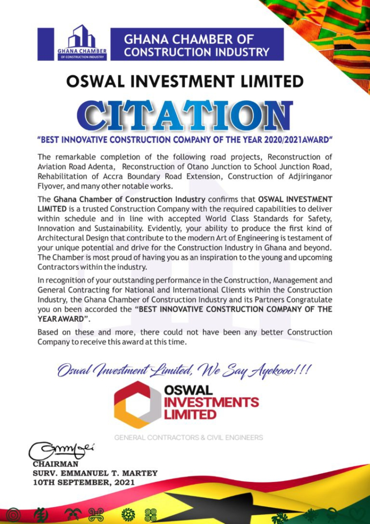 OSWAL Investment Group Limited is 'Best Innovative Construction Company of the Year 2020/2021