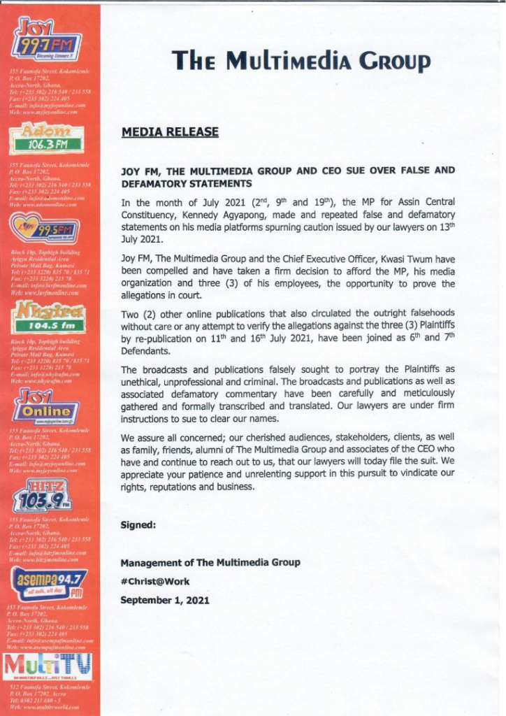 Joy FM, Multimedia Group and its CEO file suit against Kennedy Agyapong