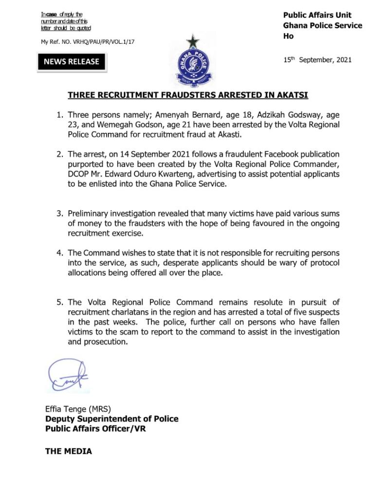 Police arrest 3 alleged recruitment fraudsters in Akatsi