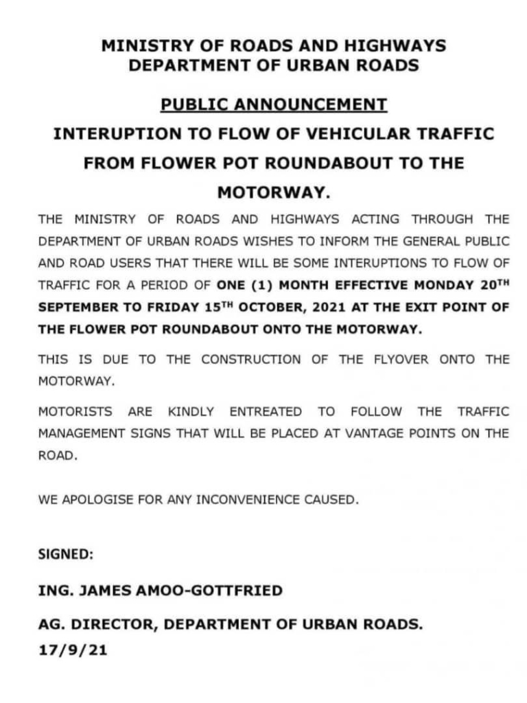 Flower Pot to Motorway to experience interruption in traffic flow for 1 month