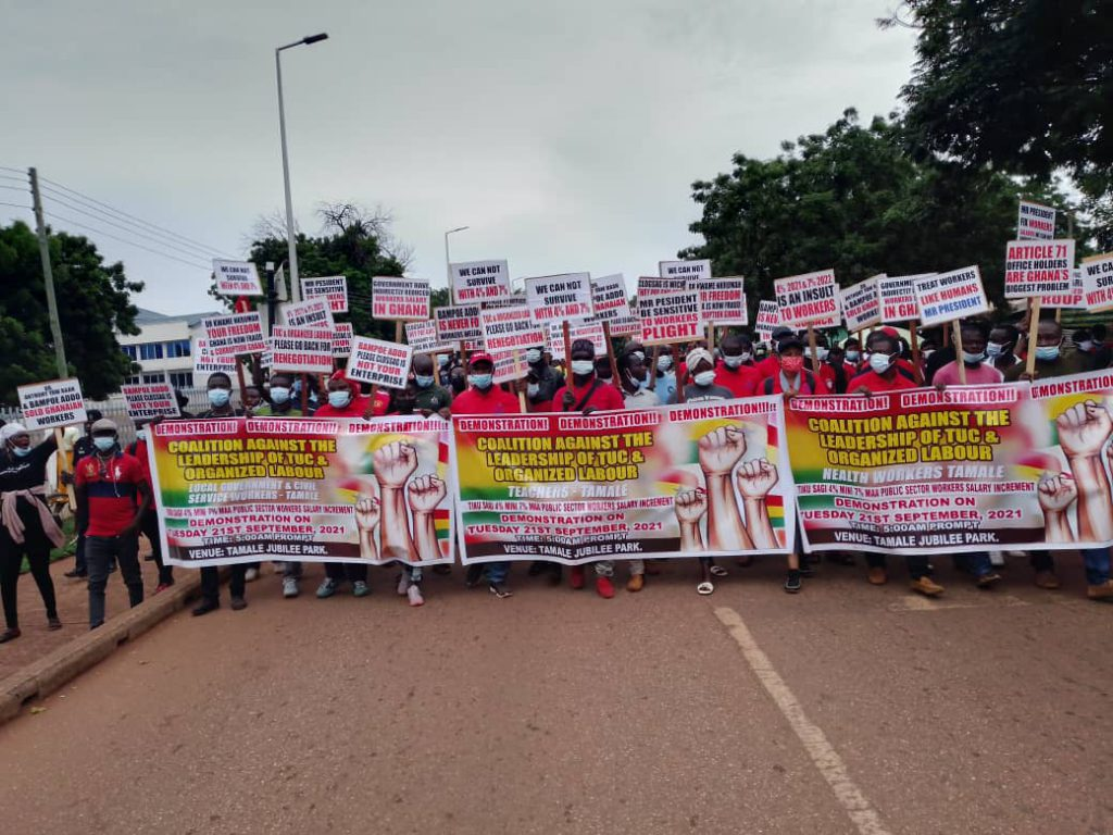 Public workers in Tamale protest over percentage increment in wages for 2021/2022