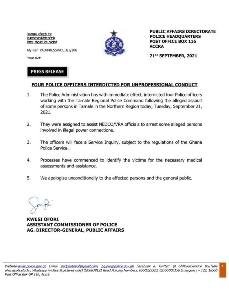 Police interdicts 4 officers who assaulted Tamale residents over illegal connection