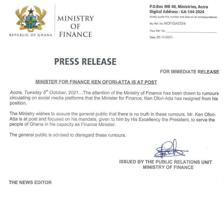 Ken Ofori-Atta has not resigned - Finance Ministry